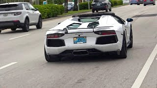 Supercars leaving Exotics and Espresso LOUD REVS Acceleration Lamborghini Ferrari McLaren