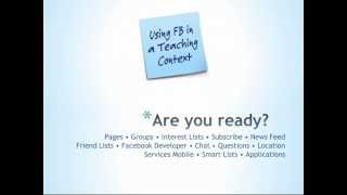 Workshop Introduction: Friend, Fan or Foe? Using Facebook in a Teaching Context