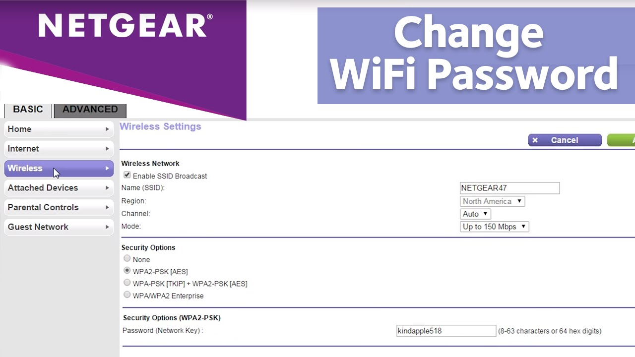 How do I change my NETGEAR router password or network name (SSID