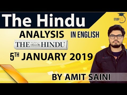 English 5 January 2019 - The Hindu Editorial News Paper Analysis [UPSC/SSC/IBPS] Current Affairs