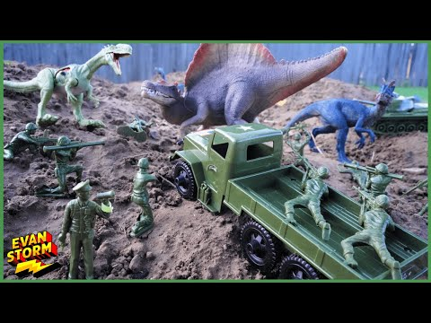 Plastic Army Men VS Plastic Dinoaurs Green Army Rescues Pink Army Volcano Island |