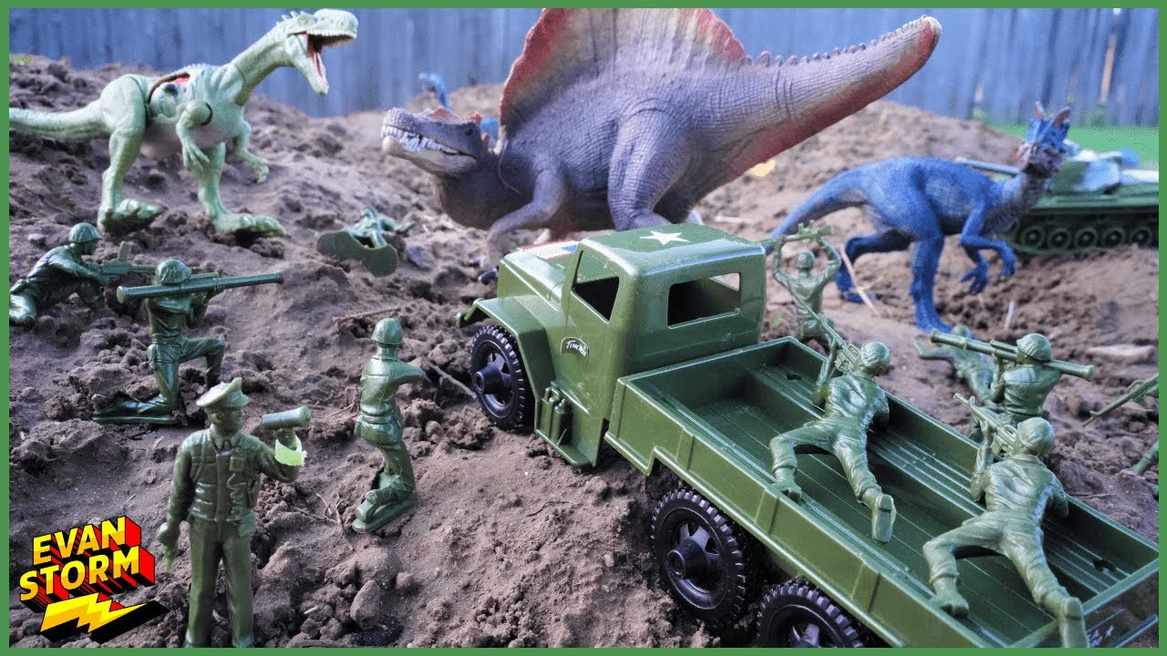 Plastic Army Men VS Plastic Dinoaurs Green Army Rescues Pink Army Volcano Island