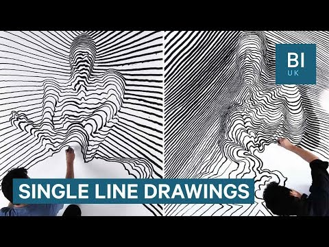 This artist creates 3D paintings using single lines of paint