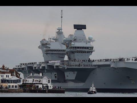 U.K.'s new warship HMS Queen Elizabeth arrives in Portsmouth