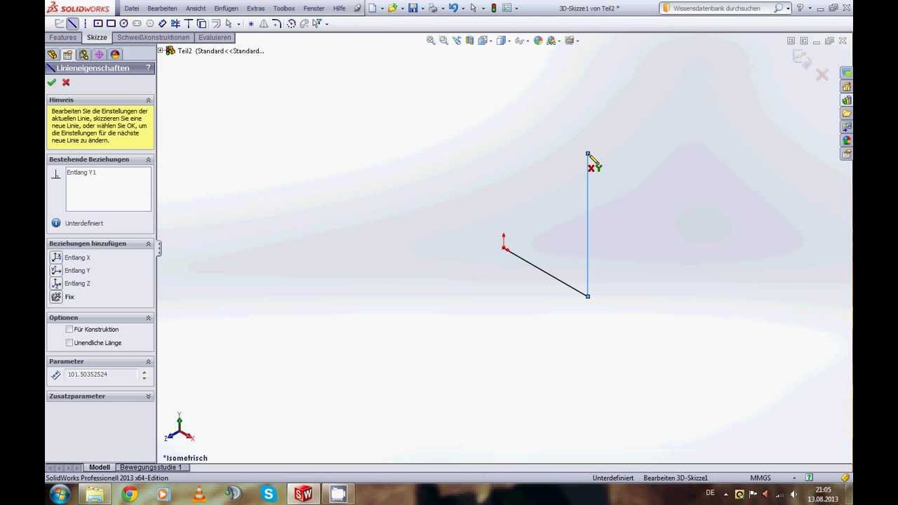 Solidworks 2013 7 3d Skizzen Youtube