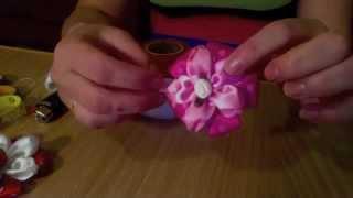 Adelina Bowtique Lesson 2. цветок из лент (заколка) урок 2