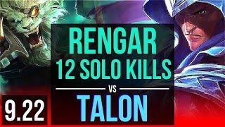 RENGAR vs TALON (TOP)   4 early solo kills, 1.3M mastery points, 12 solo kills   EUW Master   v9.22