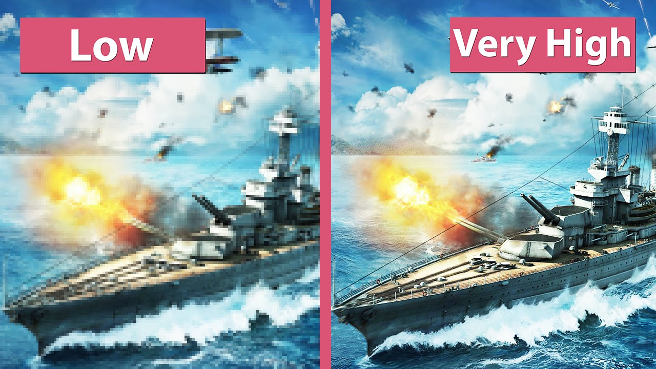 World of Warships Beta – Low vs  Very High Graphics Comparison  [60fps][FullHD]