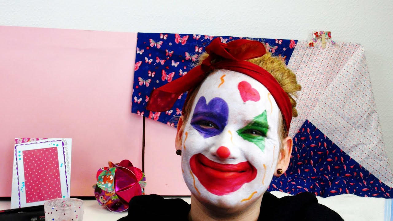 clown make up tutorial karneval 2015 zirkusclown schminke kinderschminke clown deutsch. Black Bedroom Furniture Sets. Home Design Ideas