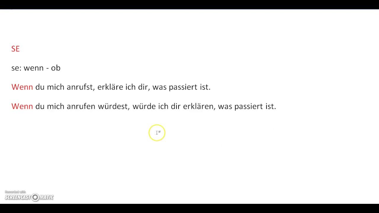 Tedesco Lezione K15 Approfondimenti La Parola Se In Tedesco Wenn E Ob