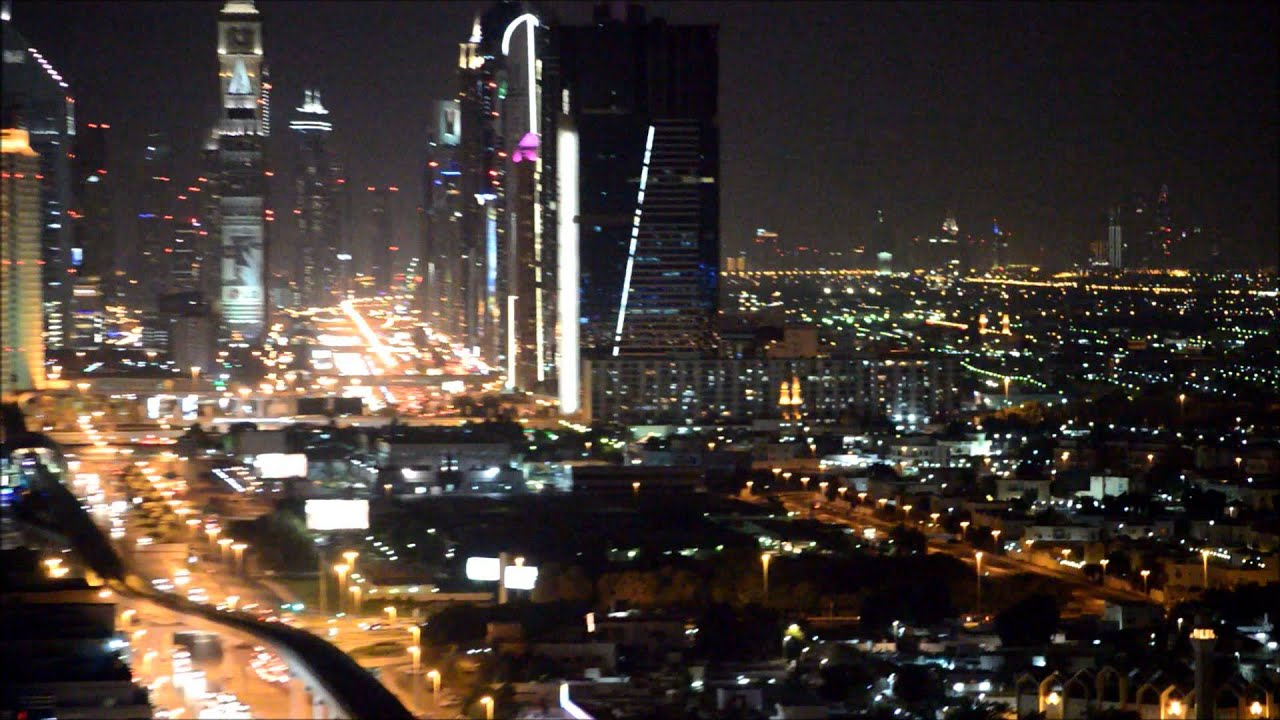 Dubai Night View Burj Khalifa Wtc Emirates Rooftop