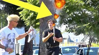 FIREWORK EXPLODES ON SECURITY GUARD DURING PRANK!!! (I Can