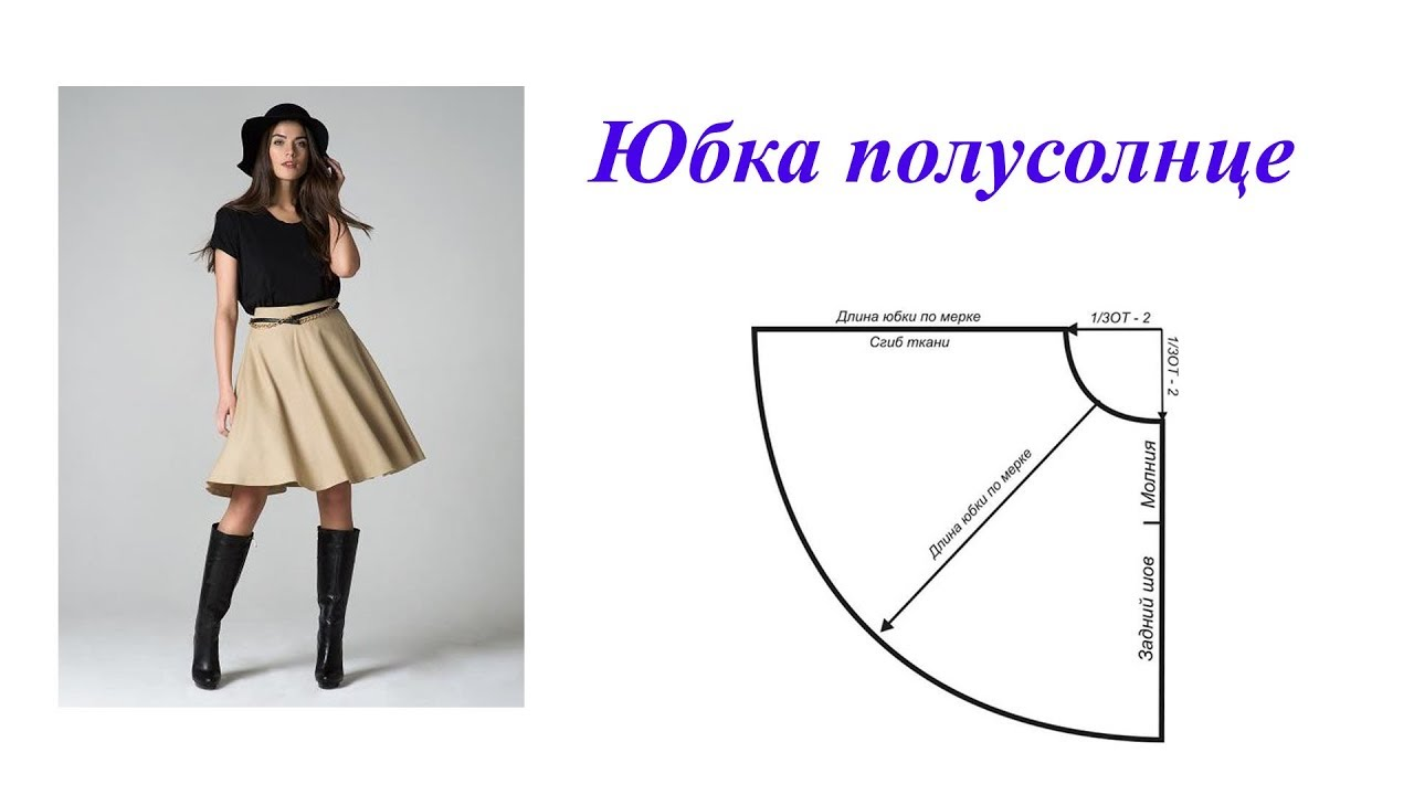 Выкройка для юбки полусолнце на резинке