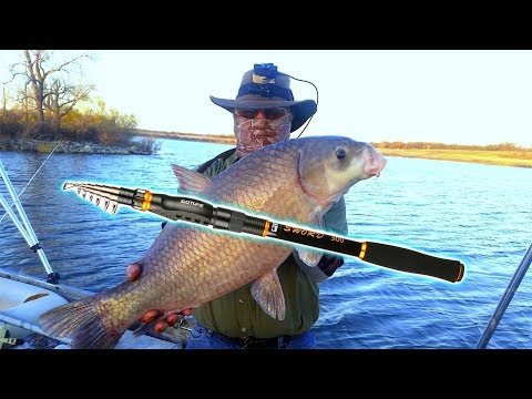 🤠 REVIEW: Goture Telescopic Carbon Fiber Rod.  Live Fishing Test. Huge Fish Caught!