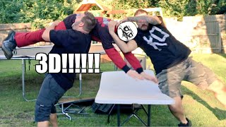 3D THROUGH A TABLE! Backyard Wrestling Match and POOP PRANK