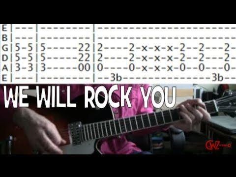 guitar lessons online Queen we will rock you tab