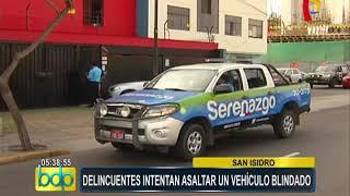 San Isidro: delincuentes con armas automáticas intentan asaltar vehículo blindado