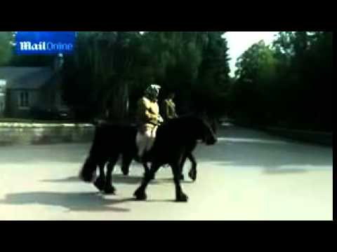 The Queen rides a horse out of her Balmoral estate