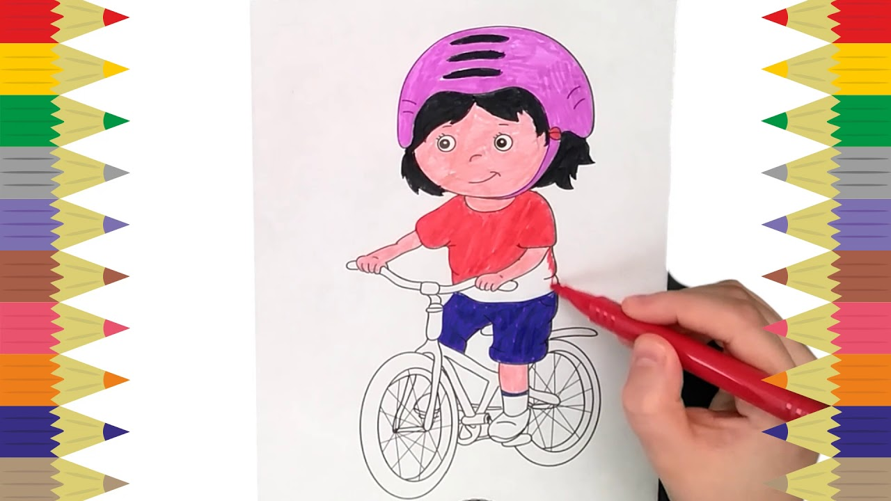 Boy Riding A Bicycle Coloring For Kids Bisiklet Suren Sevimli