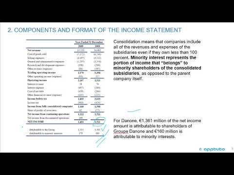 describe the components of the income statement and alternative