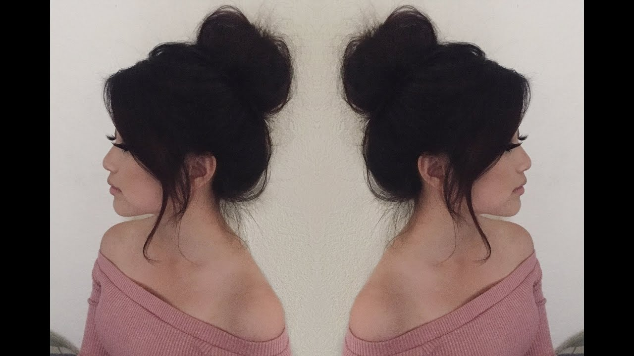 Everyday Messy Hair Bun Tutorial Medium Length