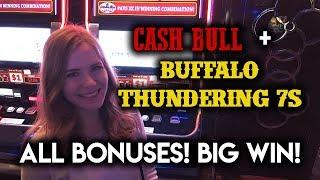NEW Buffalo Thundering 7s and Cash Bull! BIG WIN ALL Bonuses!!