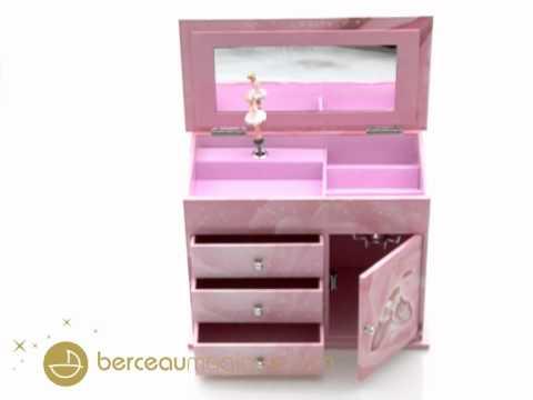 grande boîte à bijoux musicale à tiroirs ballerine rose