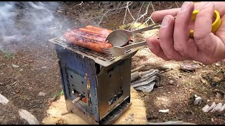 Wilderness Family Camping, Trout Fishing, Firebox Stove Cooking With Our Dogs Ash & Juni. Part 01/04