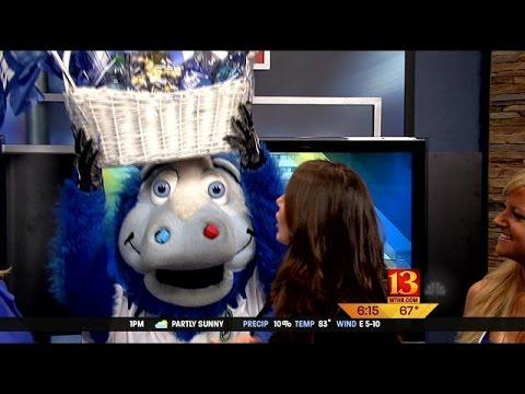 "Colts mascot, ""Blue"", visits the Sunrise crew"