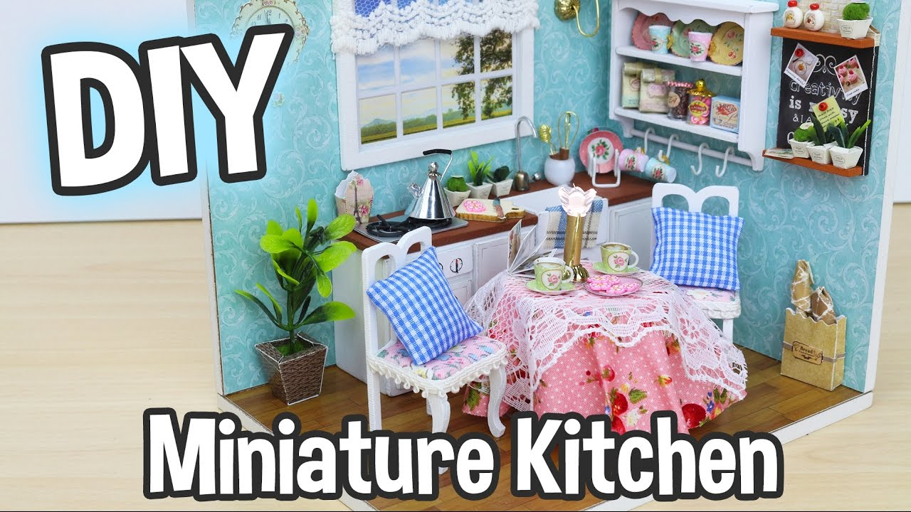 DIY Miniature Dollhouse Kit Cute Kitchen Room with Working Lights ...