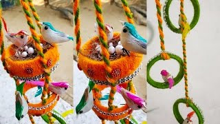 चिडिय़ा का घोसला / show piece /how to make bangle  bird nest/decorative bird craft/diy/wool nest