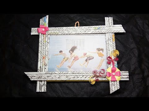 Newspaper photo frame ll best out of Waste ll diy home decoration
