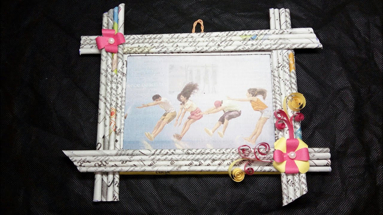 Photo frame making at home with newspaper ll newspaper DIY ll paper ...