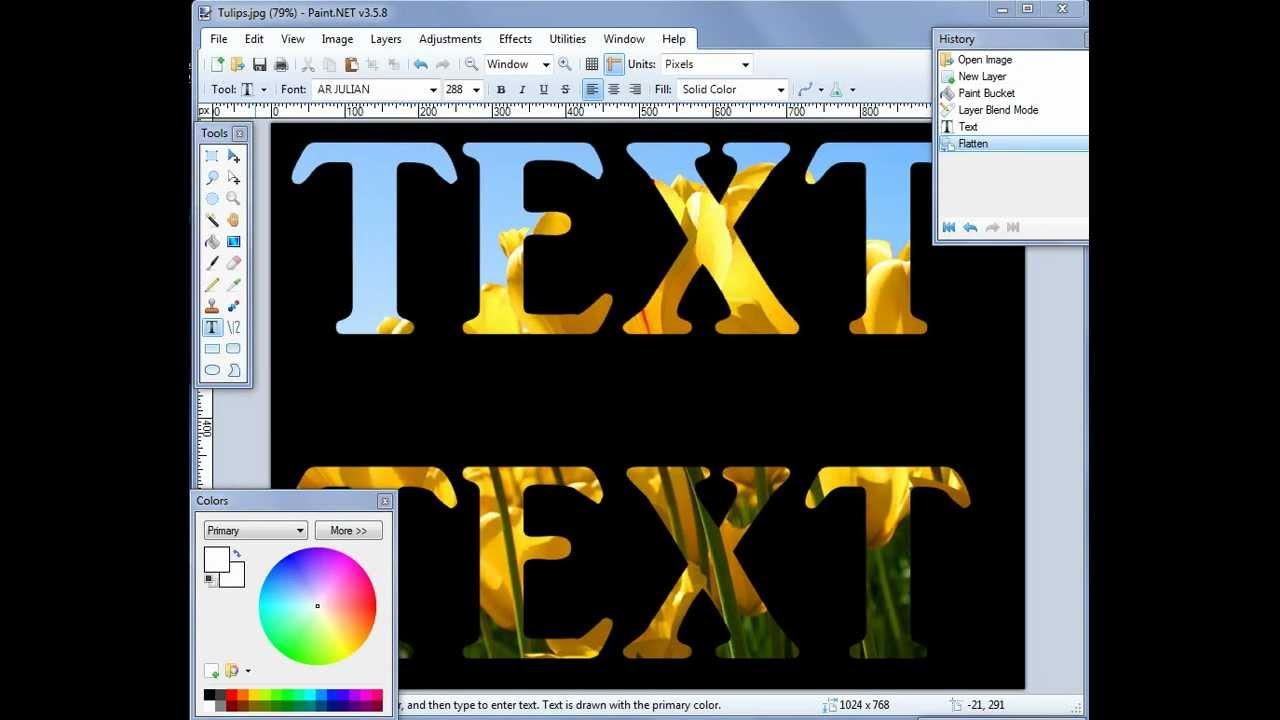 How To Change Text Color In Paint Net