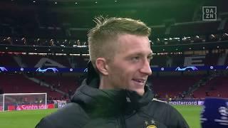 DAZN: Marco Reus, Roman Bürki und Lucien Favre im Gespräch mit DAZN nach Atletico vs Dortmund