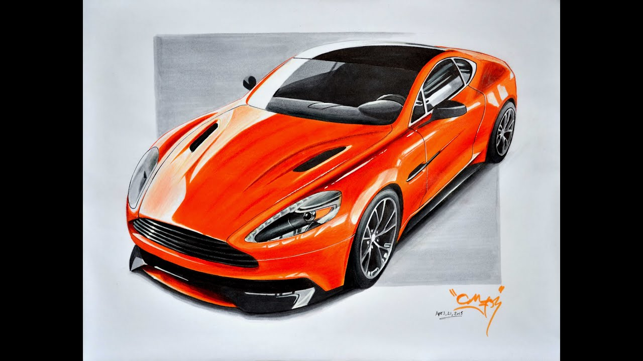 aston martin vanquish drawing youtube. Black Bedroom Furniture Sets. Home Design Ideas