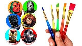 Marvel Avengers Drawing Iron Man Black Panther War Machine Black Widow Crossbones Surprise Toys