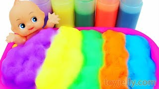 Learn Colors Baby Doll Body Clean Color Foam Bubble Bath Time Kinetic Sand Suprise Ice Cream Cups