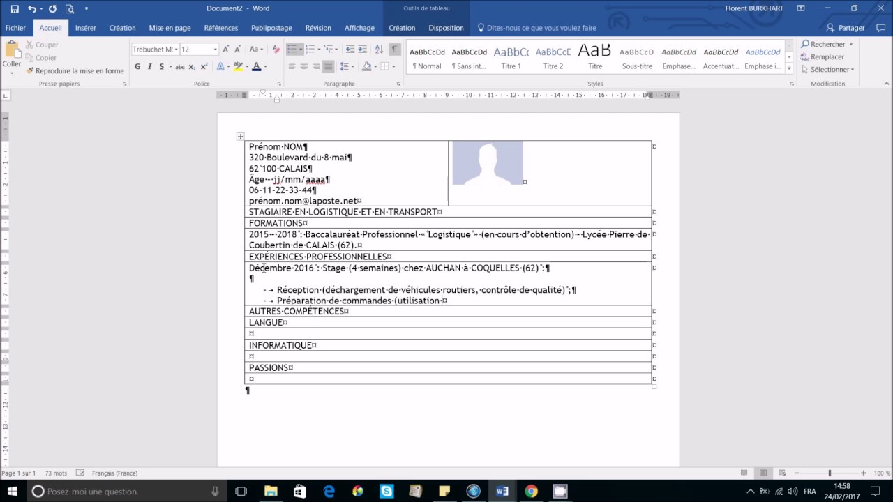 cv professionnel simple et facile microsoft office word 2007