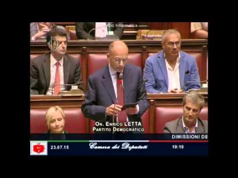 Enrico Letta si dimette da Parlamentare l'ultimo discorso alla Camera dei Deputati