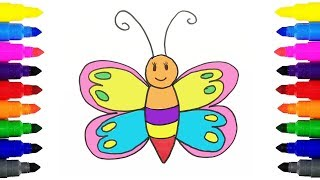 Butterfly Drawing and Coloring for Kids