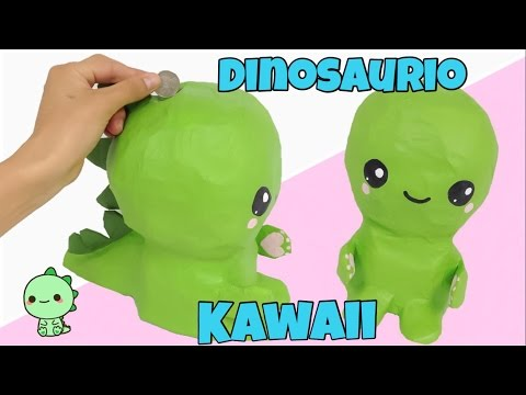 MANUALIDADES KAWAII\\como hacer una alcancía DINOSAURIO KAWAII , YouTube