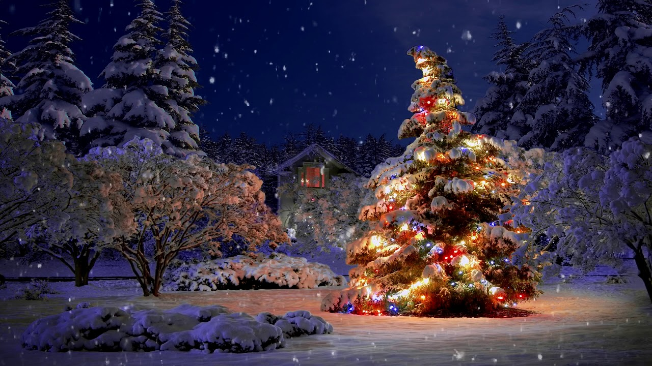 Beautiful Snow Falling Christmas Scene Animation ~ Makes Great Background  with Music - YouTube