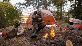 EXPLORING and CAMPING OLD LOGGING ROADS and FROZEN LAKES in CANADA with my DOG