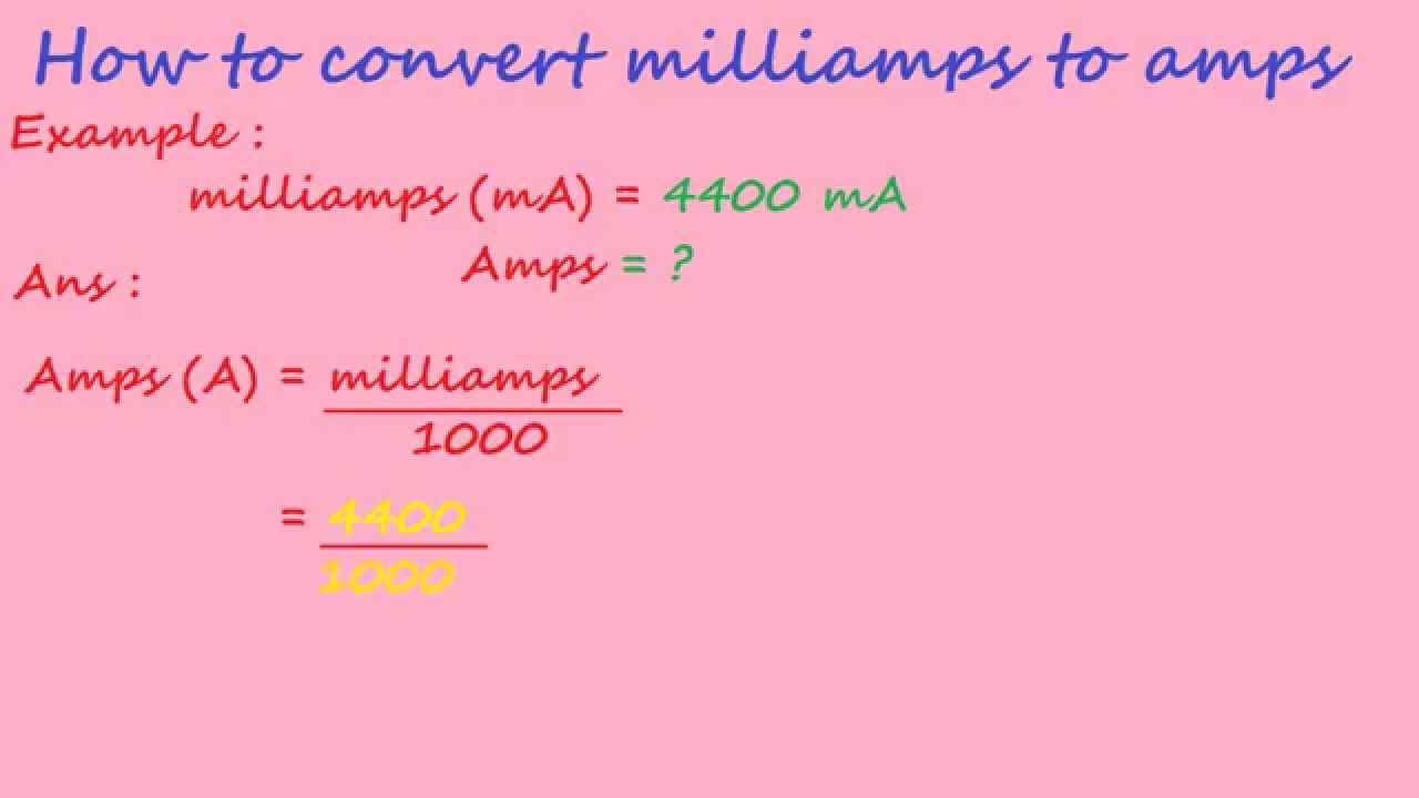 Kilo Ohms To Ohms >> how to convert milliamps to amps - electrical formulas ...