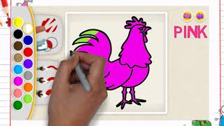 Chicken with painting and coloring learn english | lear coloring animals baby | kids drawing