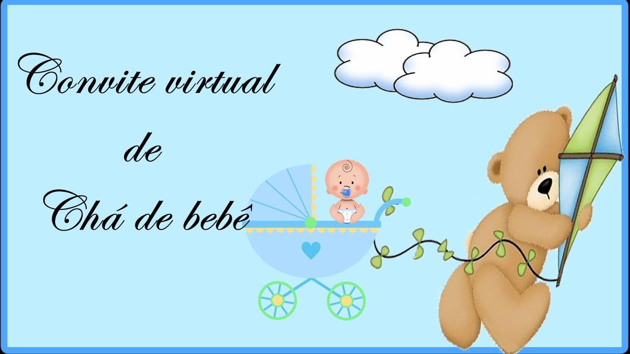 Convite Virtual Chá De Bebê Menino Youtube