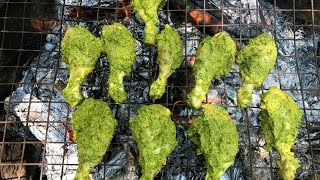 Barbecue Chicken Grill - Chicken Legs Marinated In Green Chili, Corriander & Mint Leaf Paste & Curd