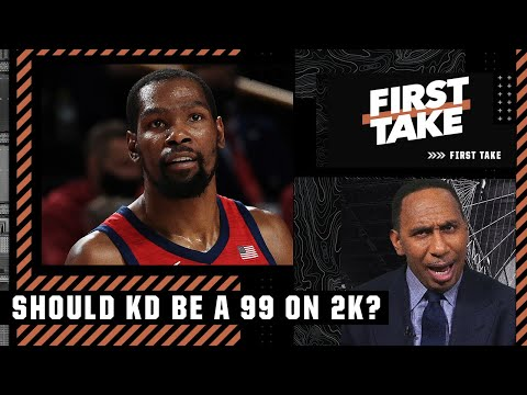 Stephen A. agrees with KD: 'He should be a 99 on NBA 2K!'   First Take