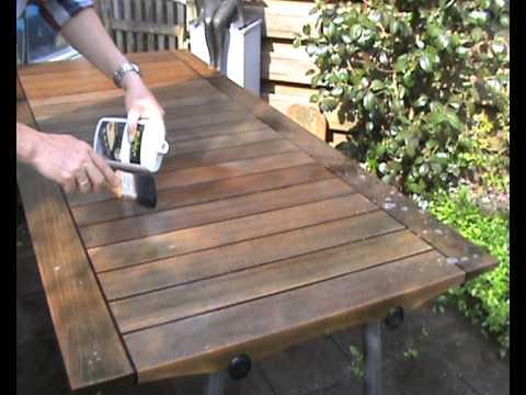 Houten Tafel Behandelen : Skagerak teak houten tafel reinigen youtube